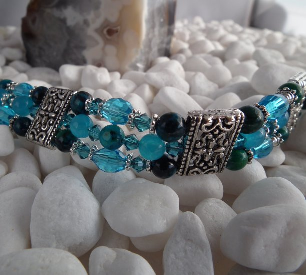 ***SOLD*** Blue Jade and Jasper Triple Bracelet