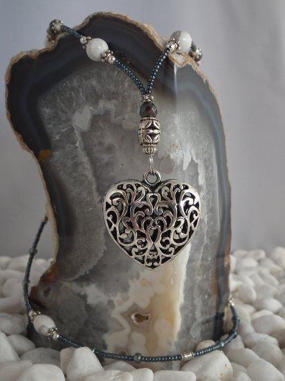 Howlite and Hematite w/ Heart Pendant-SOLD