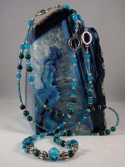 Blue Jade and Australian Jasper Necklace