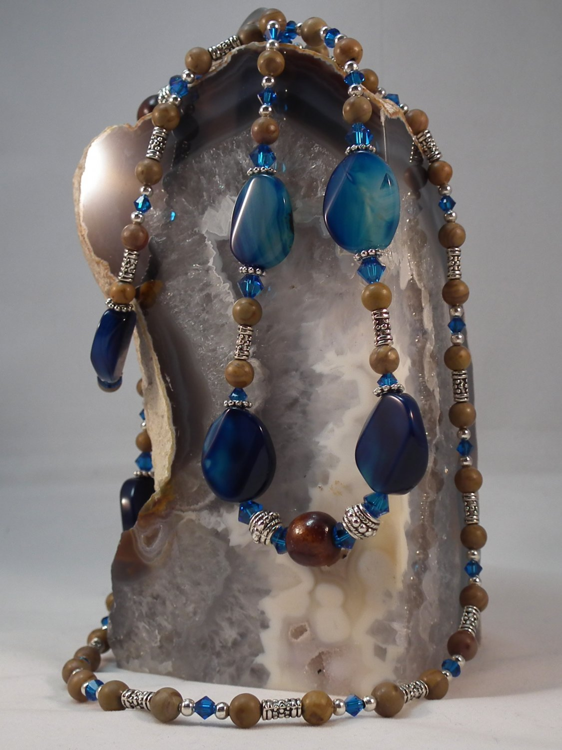 ** SOLD ** Blue Banded Agate and Chinese Jasper Necklace