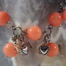Coral Heart Charm Bracelet