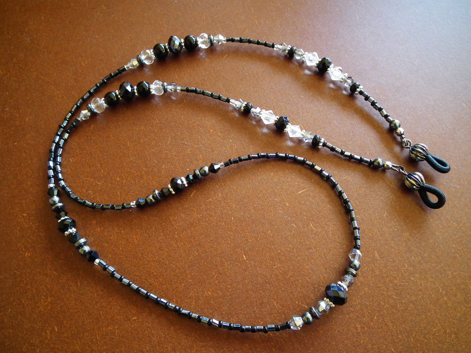 ***SOLD*** Onyx and Hematite Eyeglass Chain