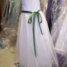 Dessy 4006.....Flower Girl / Special occasion Dress.....Ivory / Clover...Sz 6