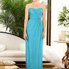 Dessy 2882......Strapless, Full length, Chiffon Blue Dress....Turquoise....Sz 12