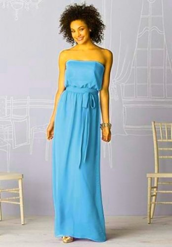 After Six 6615....Full Length, Strapless, Chiffon Blue Dress.....Turquoise..Sz 2