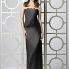 Dessy 2849......Full length, Strapless, Lace and Satin Dress....Black.....Sz 4