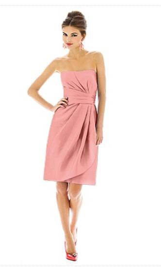 Alfred Sung 602.....Cocktail length, Strapless Dress........Apricot......Sz 4