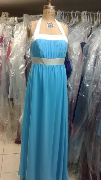 After Six 6566....Full Length, Nu-Georgette, Halter dress....Turquoise....Sz 8