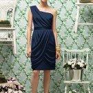 Lela Rose LR 179....Tea length, One shoulder, Chiffon Dress.....Midnight...Sz 8