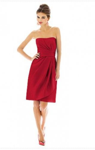 Alfred Sung 602.....Cocktail length, Strapless Dress........Poppy......Sz 4