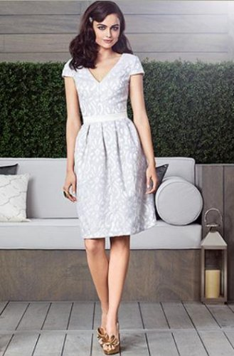 Dessy 2902......Cocktail Length Satin Lace Dress.....Ivory...Skyline....Sz 14