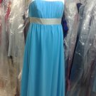 After Six 6566...Full Length, Nu-Georgette, Halter.....Turquoise / Ivory....Sz 6