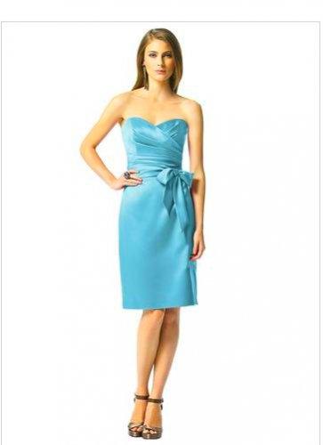 Dessy 2841....Knee-Length, Strapless, Satin Dress....Turquoise....Sz 8