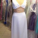 Dessy 2739...Full length, Satin, Sleeveless Dress.....White / Gold....Sz 8