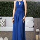 Dessy 2906......Full length, Halter, Blue Chiffon dress...Sapphire....Sz 12