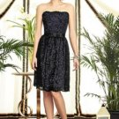 Dessy 2893....Knee-Length, Strapless, Lace Dress....Amethyst / Black...Size 12