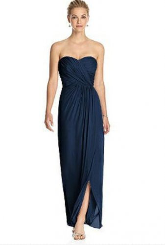 Dessy 2882.....Strapless, Full length, Chiffon Dress....Midnight....Size 24 LONG