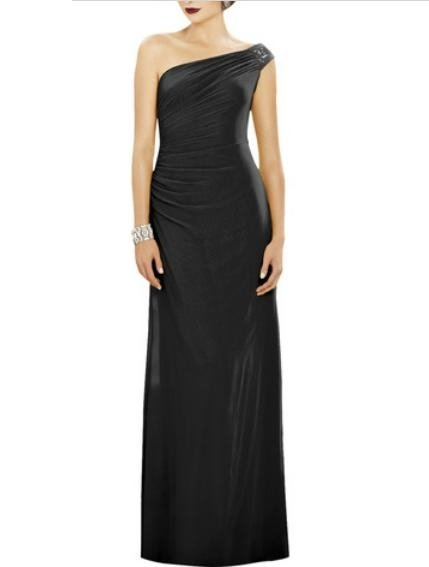 Dessy 2884......Full length, One Shoulder Chiffon Dress......Black.....Size 4