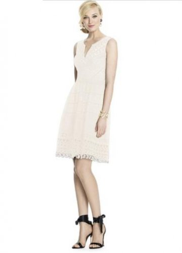 Dessy 57 Grand..Style 5714...Cocktail length, Sleeveless Dress..... Ivory .....Sz 10