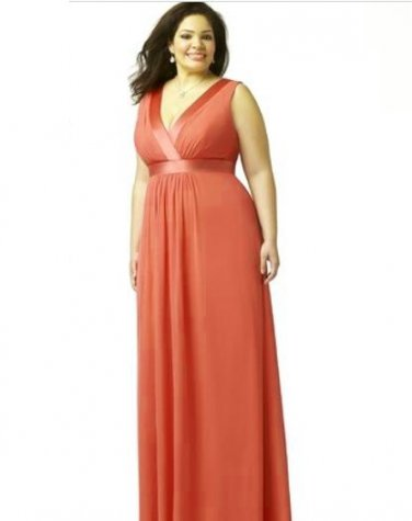Dessy 9001......Full length, Sleeveless, Chiffon Dress....Firecracker....Size 22