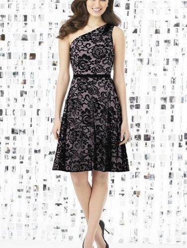 Dessy 8141...Cocktail length, One shoulder Lace Dress....Suede Rose....Size 6
