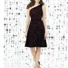 Dessy 8141...Cocktail length, One shoulder Lace Dress....Burgundy....Size 6