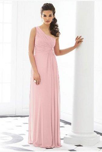 After Six 6651.....Formal, One shoulder, Chiffon Dress...Rose....Size 6 UK
