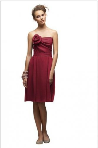 Lela Rose 147...Cocktail length, Strapless, Chiffon dresss....Claret......Siz 10