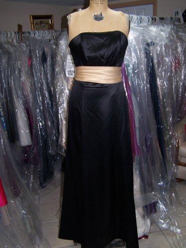 Dessy 2512...Full length, Strapless, Satin Dress...Black...Size 6