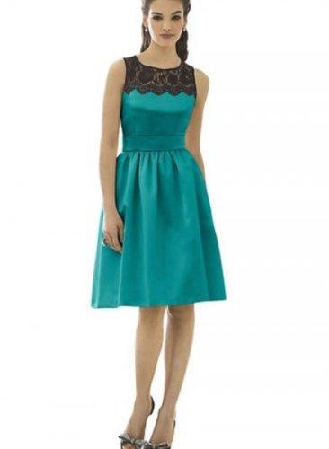 After Six 6644....Cocktail length, Sleeveless Satin Dress....Jade...Sz 12