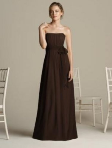 After Six 6577...Full Length, Strapless, Chiffon Dress....Espresso...Sz 14 UK