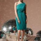 Dessy 8117...One shoulder, Cocktail length, Chiffon dress.....Jade...Sz 12