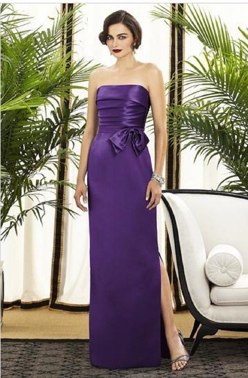 Dessy 2875.....Full length, Strapless, Satin Dress.....Majestic....Sz 8