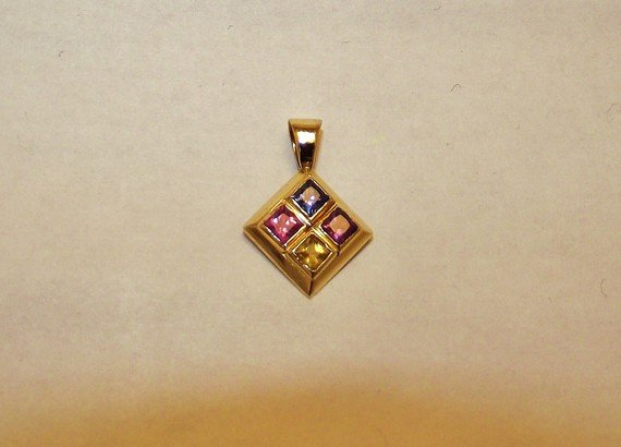 14 Kt Gold Pendant - Multi Colored Sapphires