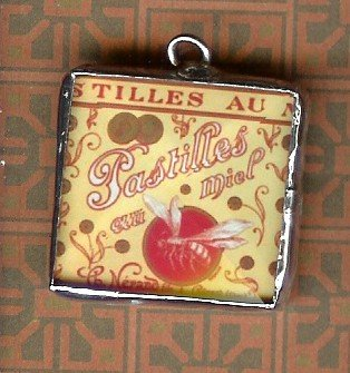 Glass Charm Antique French Pastille Label