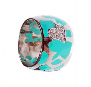 Ring in silver, Enamel, gold and diamonds Ct.0.11