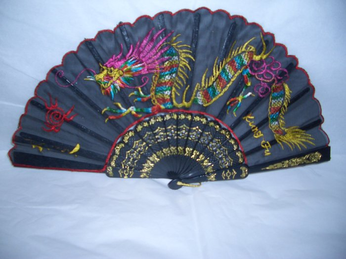 Chinese Dragon Hand Fan Embroidery. *** Free Shipping ***
