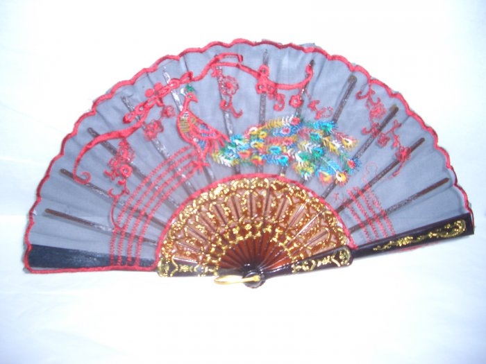 Chinese Red Peacock and Blue Panda Hand Fan Embroidery x 4 .