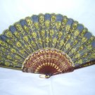 Chinese Peacock Tail (YELLOW)  Hand Fan Embroidery ~ Nice color