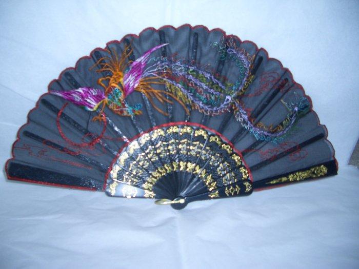 Chinese Phoenix (PURPLE) Hand Fan Embroidery.