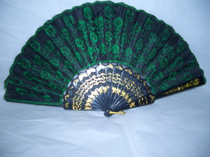 Chinese Peacock Tail (GREEN)  Hand Fan Embroidery ~ Nice color