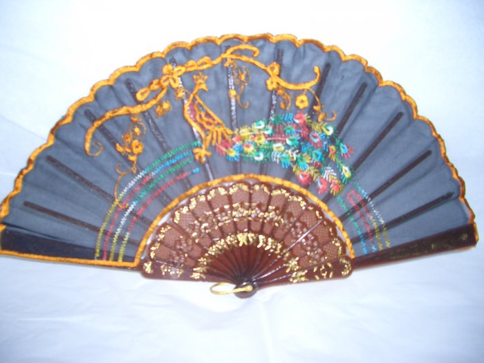 Chinese Orange  Peacock Hand Fan Embroidery.