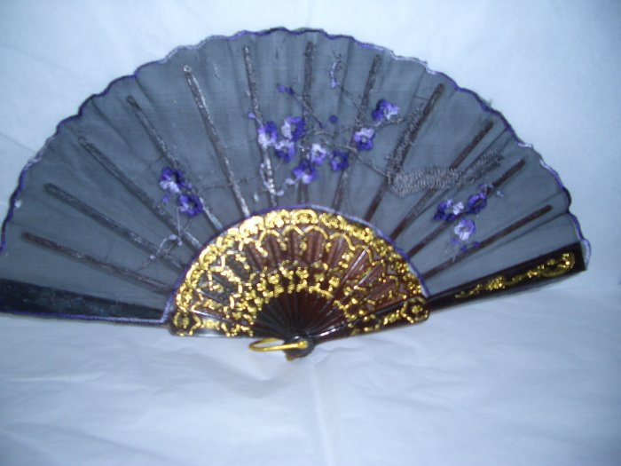 Chinese Blossom Flower Hand Fan Embroidery.