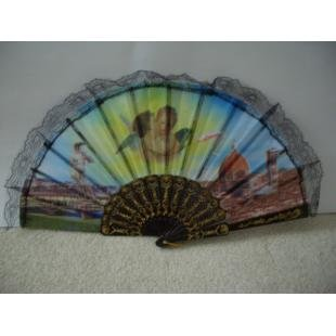 ANGEL SPANISH EMBROIDERY HAND FAN W/LACE