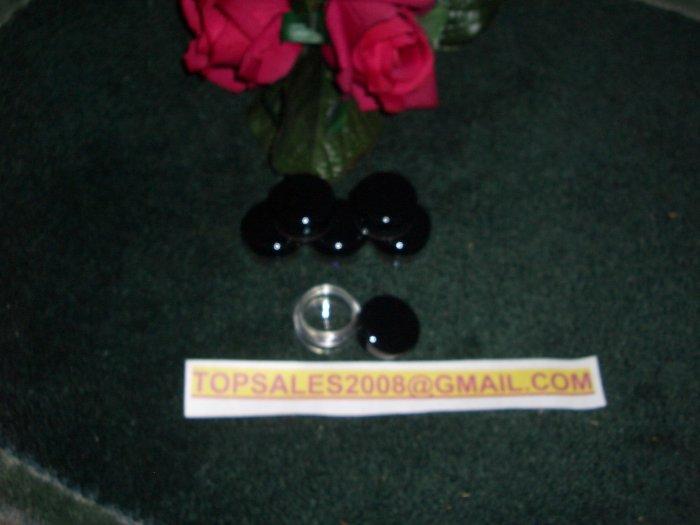LOT OF 50 CLEAR COSMETIC JAR  ~ BLACK CAP ~ 5 GRAM  PLUS  *** FREE LABELS ***