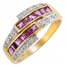 Brand New Ring With Genuine Amethysts and Diamonds - Size 7. ** compare: $960.00