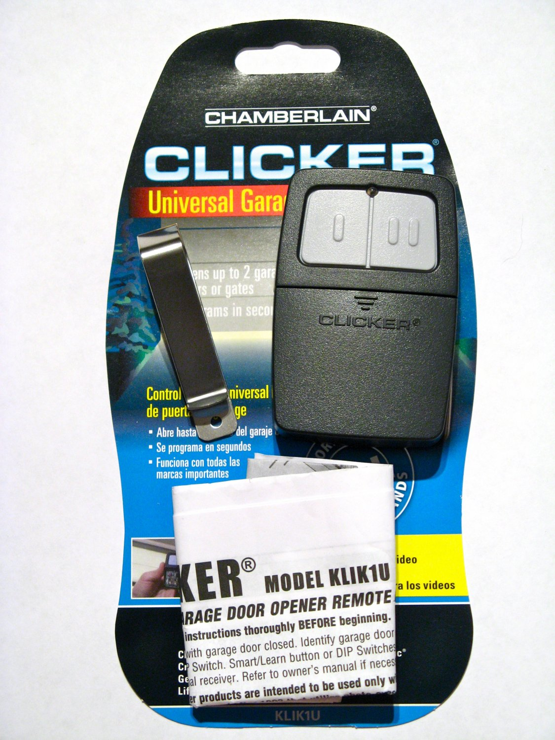 Chamberlain clicker remote klik1u garage door opener Www clickerproducts com