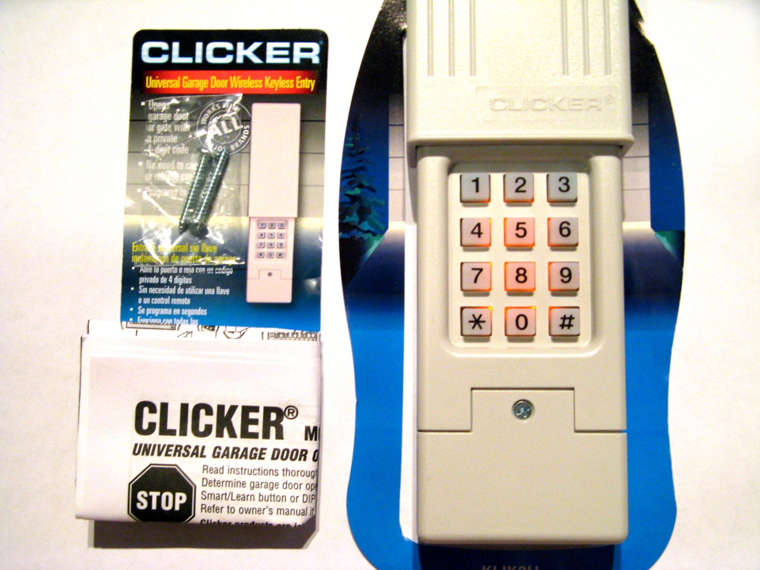 Clicker garage door opener keypad universal remote klik2u for Www clickerproducts com