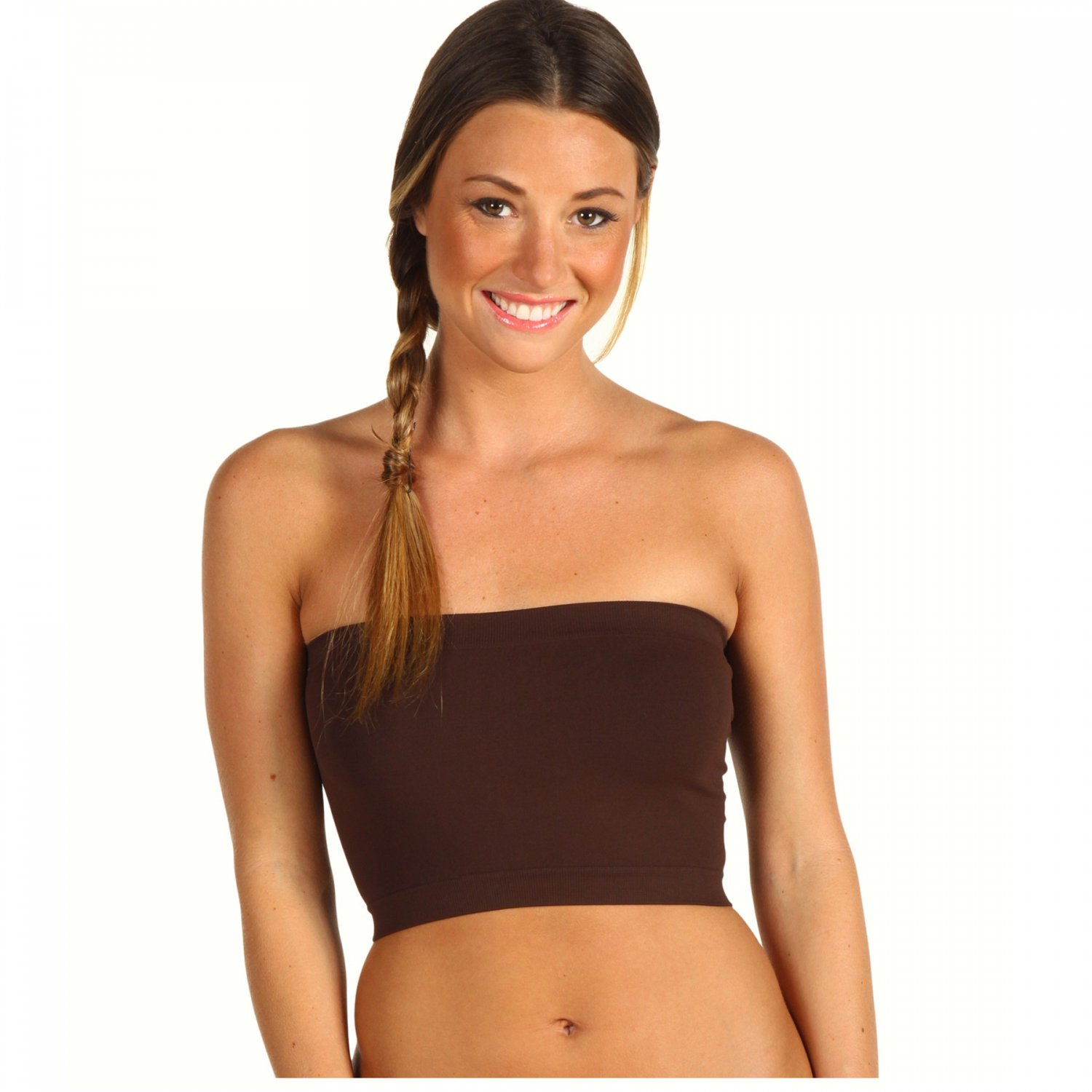 Women's Brown Strapless Sports Bra Bandeau Tube Top new