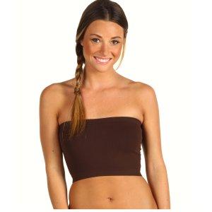 Women's Brown Strapless Sports Bra Bandeau Tube Top new